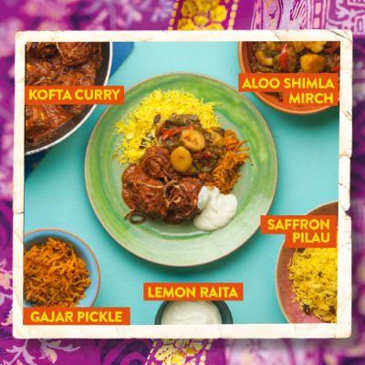 Kofta Curry with Aloo Shimla Mirch and Gajar Pickle