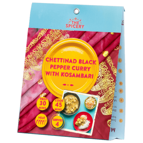 Chettinad Black Pepper Curry with Kosambari