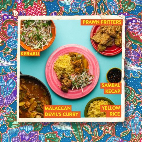 Malaccan Devil's Curry with Prawn Fritters and Sambal Kecap