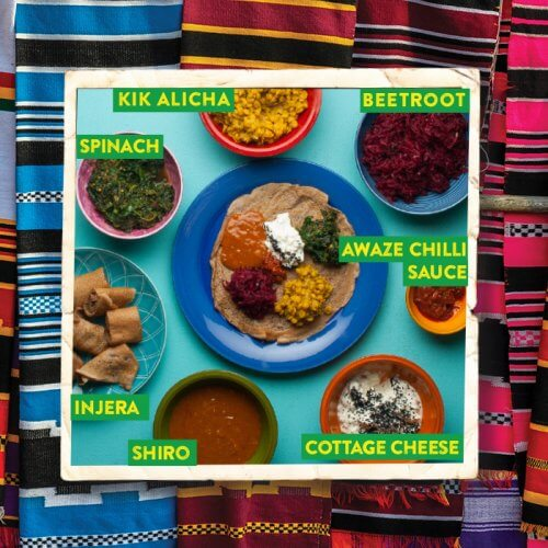 Ethiopian Injera with Shiro and Awaze Chilli Sauce