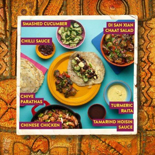 Indo-Chinese Kathi Rolls with Tamarind Hoisin Sauce and Turmeric Raita