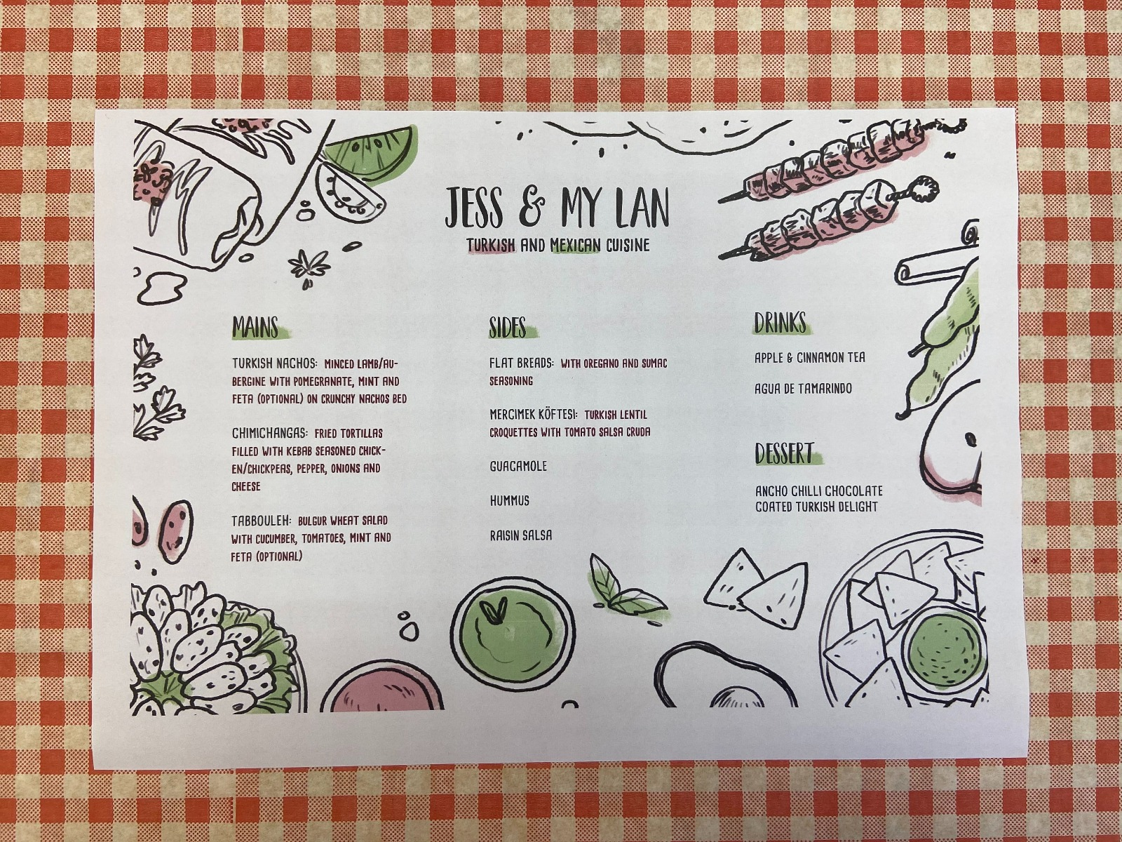Jess and My Lan's menu